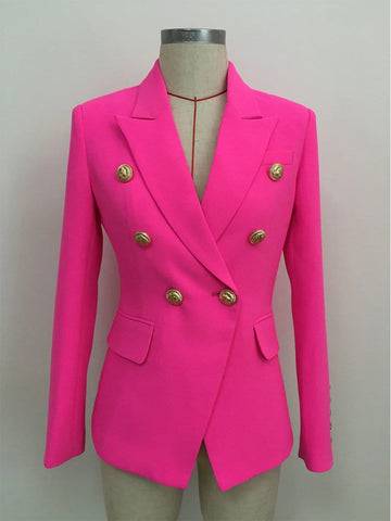 Button-Embellished Double-Breasted Blazer