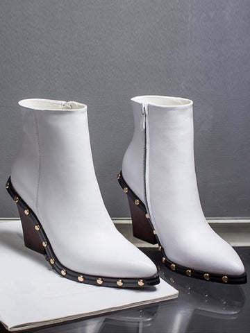 CHELSEA Leather Boots in White