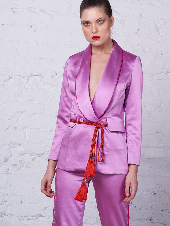 Tasseled Satin Blazer + Pants (Two-Piece Set) in Pink