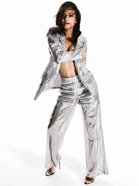 CITRINE See-Through Sequin Pantsuit