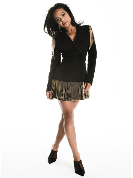JASPER Crystal Fringe Blazer Dress