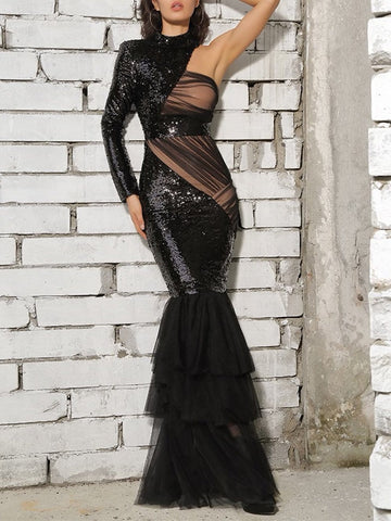 Cut-Out Mesh Maxi Dress