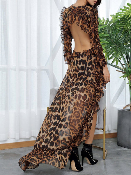 Cut-Out Open Leopard Chiffon Dress