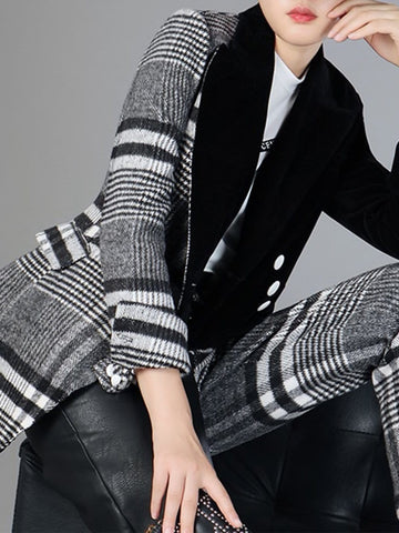 DAHLIA Plaid Wool Blazer