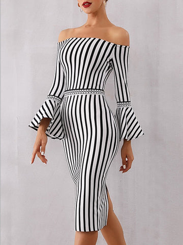 DILLON Striped Strapless Dress