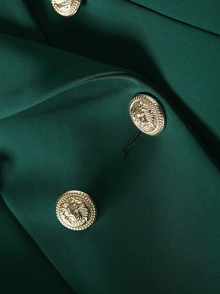 Double-Breasted Crêpe Blazer in Green