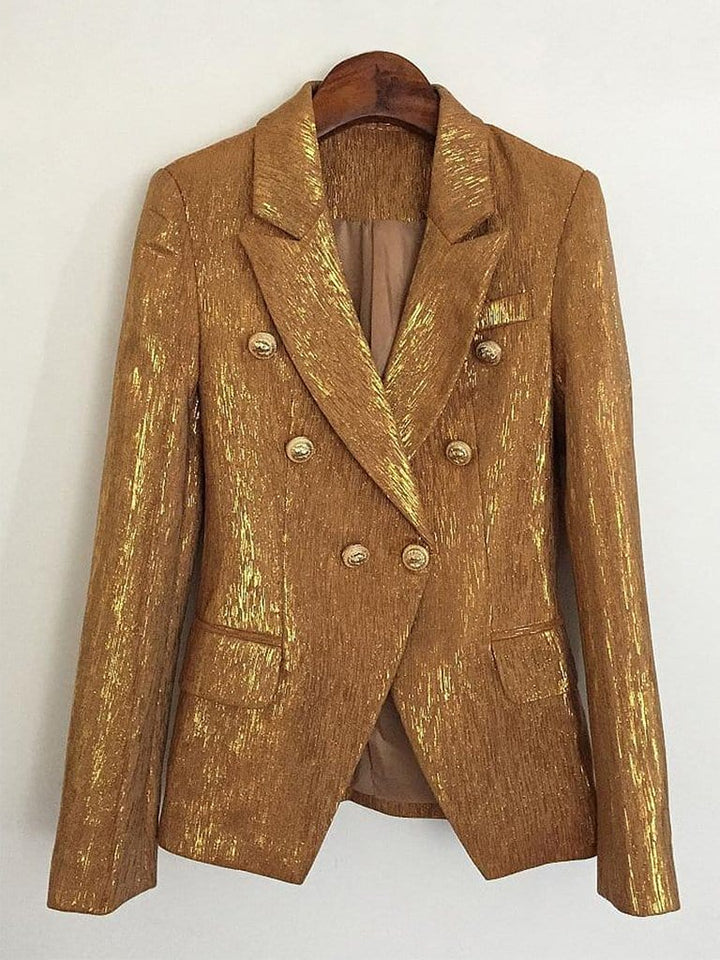 PENELOPE Double-Breasted Blazer in Gold