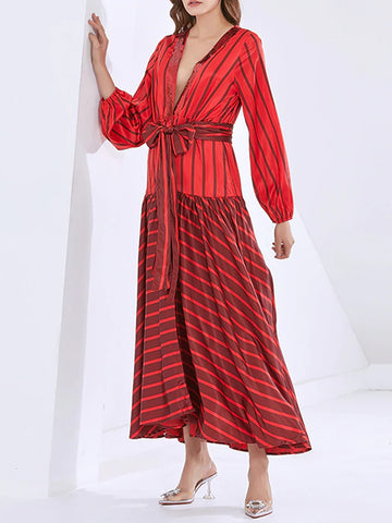 ANBESSA Striped Bowknot Maxi Dress
