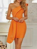 SHUSH One Shoulder Ruffles Dress