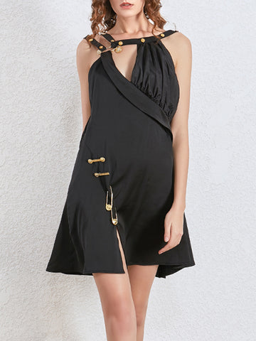 CAPPA Gold Pin Embellished Mini Asymmetrical Dress