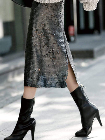 FLAMENCO Sequinned Slit Skirt