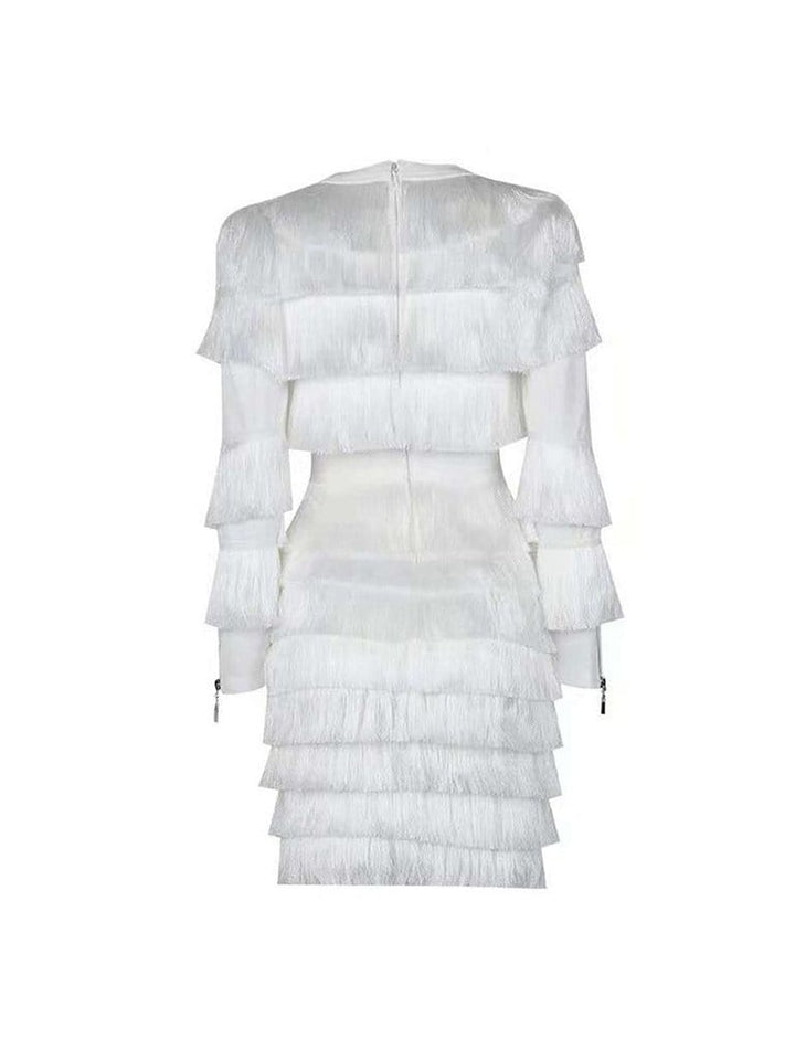 FOXY Fringed Mini Dress in White