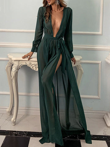 PAPAYA Slit Maxi Dress