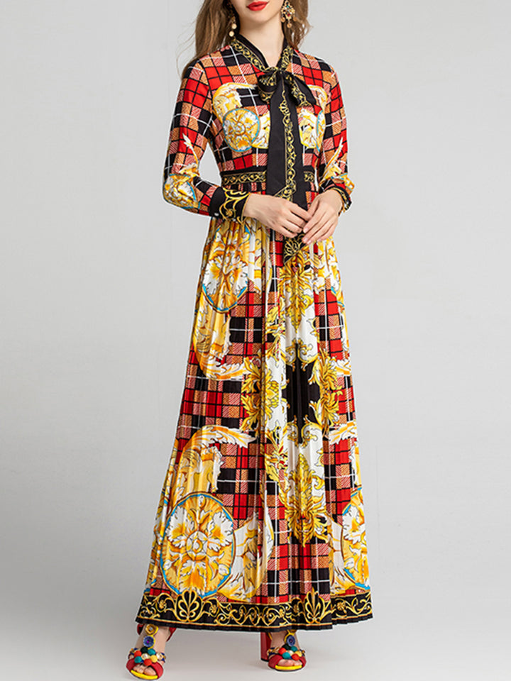 INDA Flower Plaid Print Maxi Dress