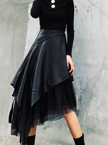 High Waist Irregular Mesh Leather Skirt