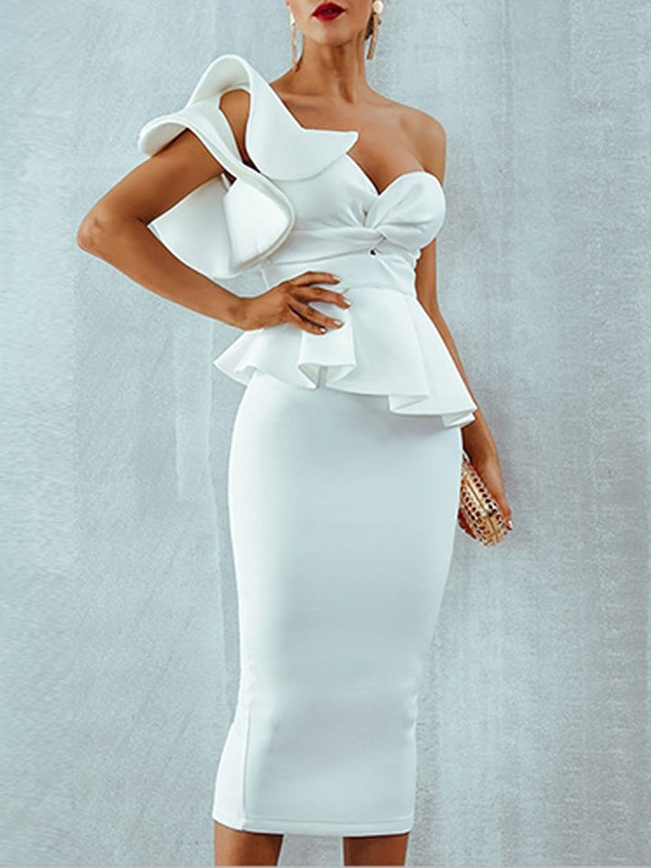GRANT One-Shoulder Midi Dress in White