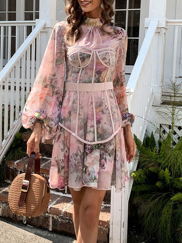 LEA Corset Floral Mini Dress