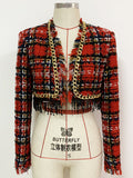Chains Fringed Plaid Tweed Crop Jacket