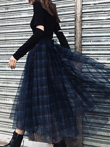 Plaid Tulle Maxi Skirt