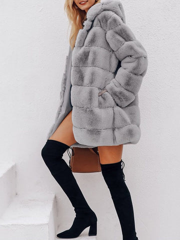 HALEY Faux Fur Overcoat in Gray