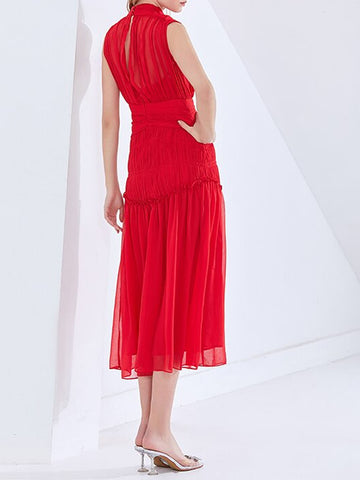 QUINN Ruched Midi Dress in Red