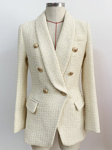 Double Breasted Tweed Blazer