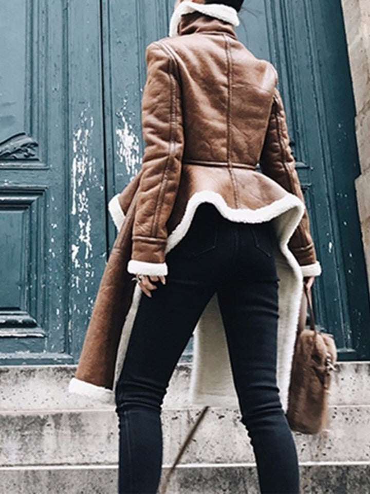 Irregular Turtleneck Coat