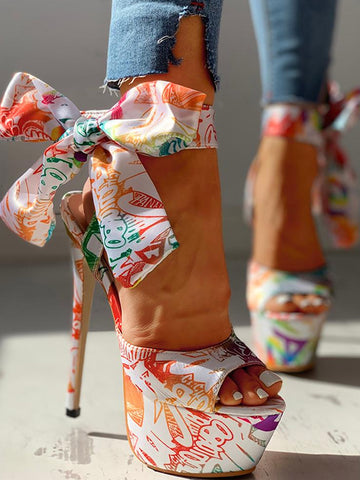 Ankle-Wrap Printed Platform High Heel Sandals