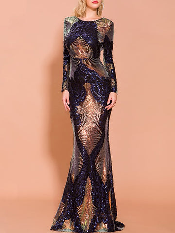 ASAMA Backless Sequin Maxi Dress