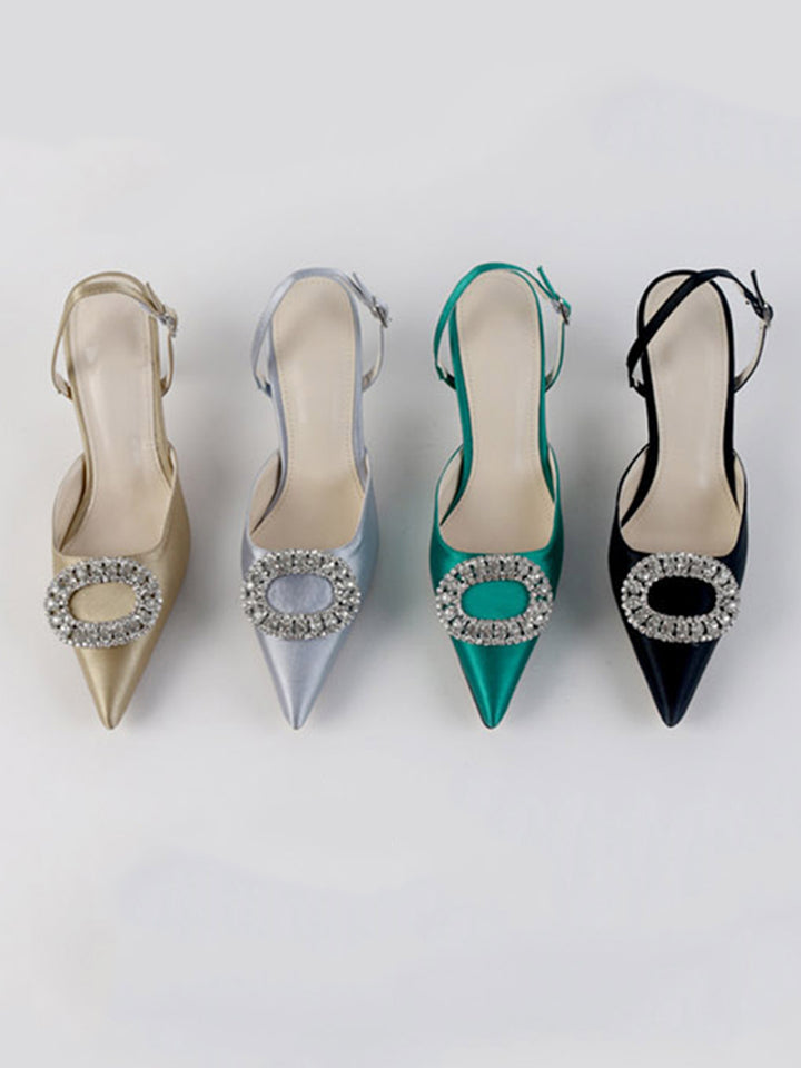 High Heel Rhinestone Buckle Stilettos