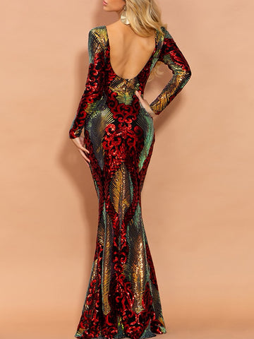 ALPA Backless Sequin Pencil Maxi Dress
