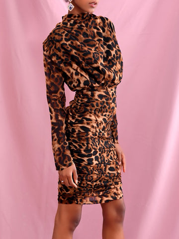 SHONNA Pleated Leopard Mini Dress