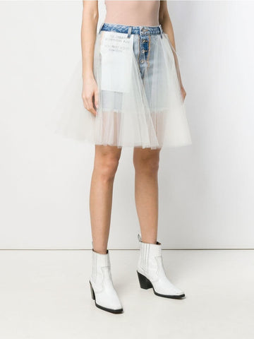 LILIAN Tulle Mini Skirt in White