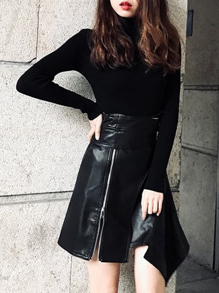 MICHELA Irregular Faux-Leather Skirt