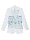 Denim Patched White Blazer