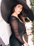 THERESA Oversized Straw-Hat in Black