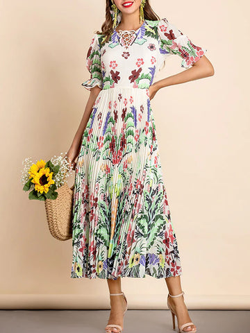 UMMA Floral Pleated Dress