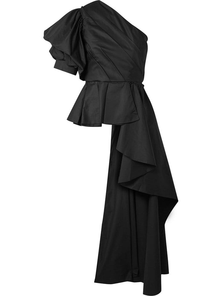 PASODOBLE Asymmetric Ruffled Top in Black