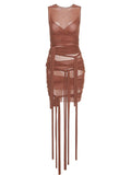 MARSSA Ribbons Mesh See Through Dress