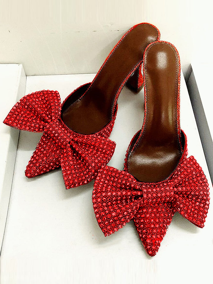 Pointed Toe Bow High Heels Pumps