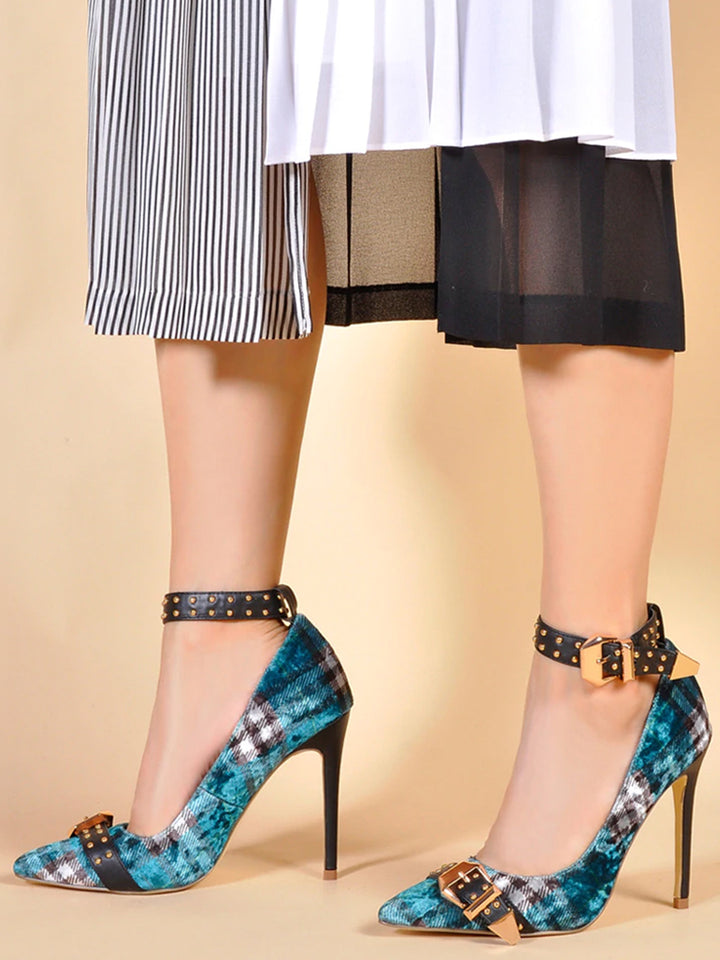 High Heel Ankle Strap Pumps