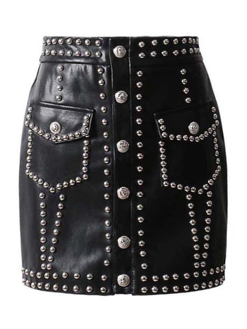 Riveted Faux-Leather Skirt