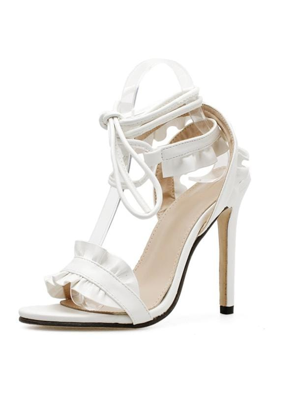 Ruffled High-Heel Sandals