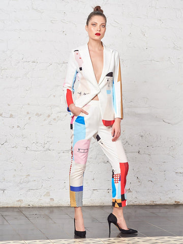 SALVADOR No-Closure Doll-Print Blazer & Pant - 2 Piece Set in White