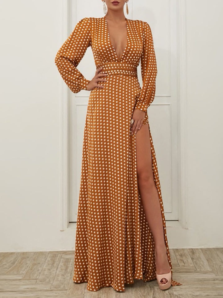 Satin Polka Dot Maxi Dress
