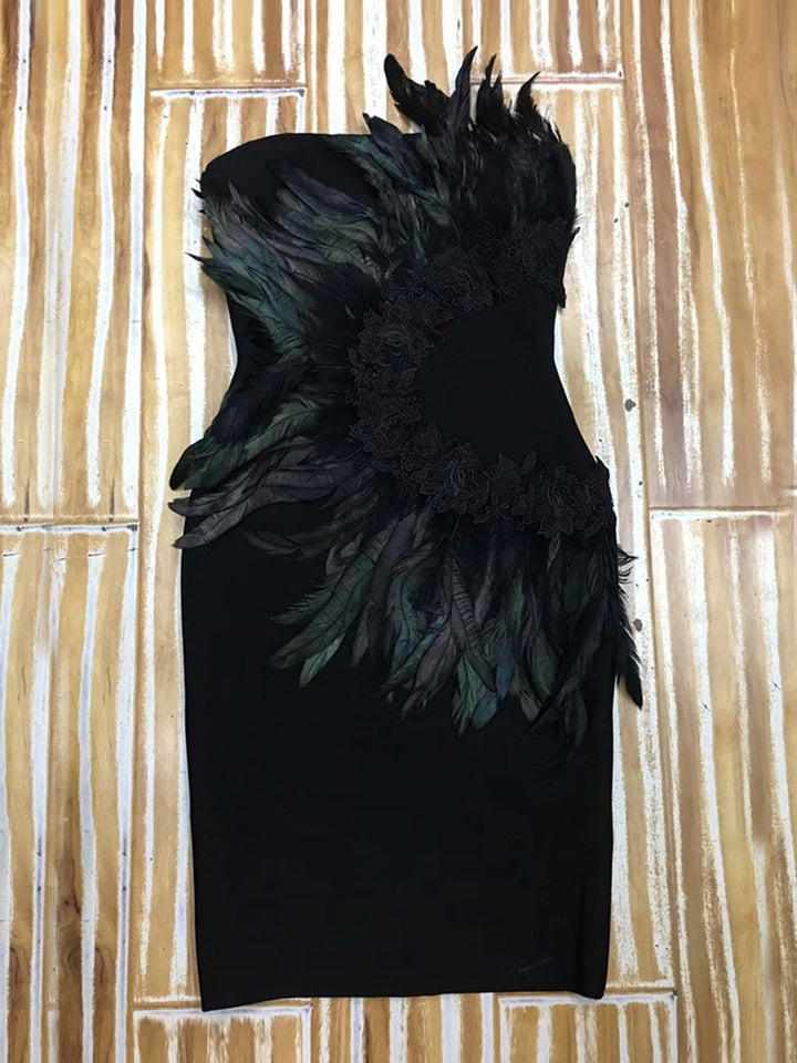 GEMINI Strapless Feathered Dress
