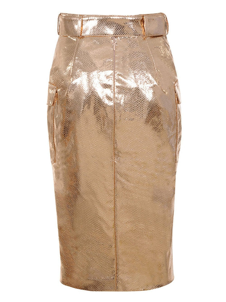 TORI Faux Leather Pencil Skirt + Top Set