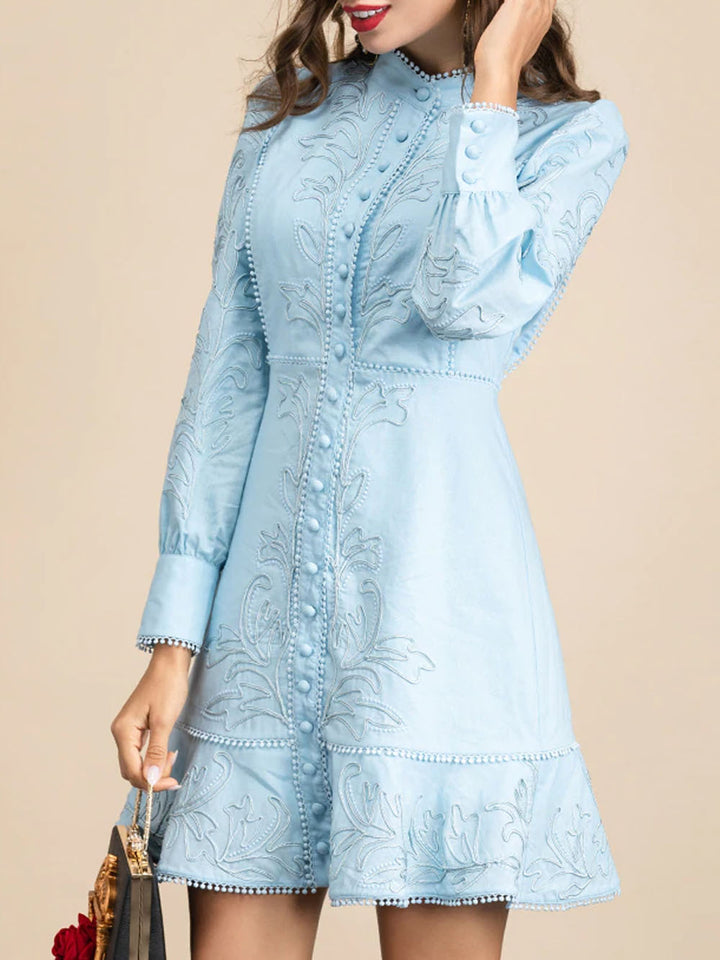 ALLIE Embroidered Mini Dress in Blue