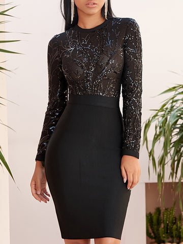 LANTA Sequinned Bodycon Mini Dress