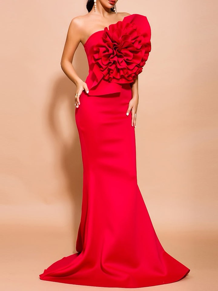OPERA One Shoulder Ruffle Bow Patch Maxi Tail Dress
